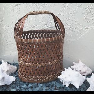 Vintage handmade bamboo summer basket beach bag